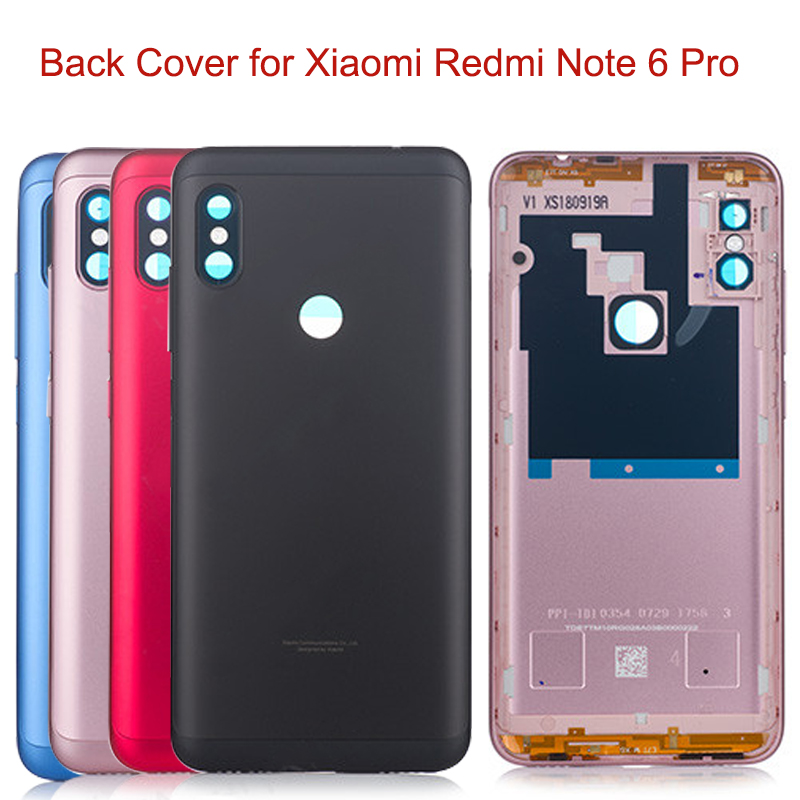 Original Back Battery Housing Cover For Xiaomi Redmi Note 6 Pro Global Case Replacement Parts Power Volume Buttons + Camera Lens