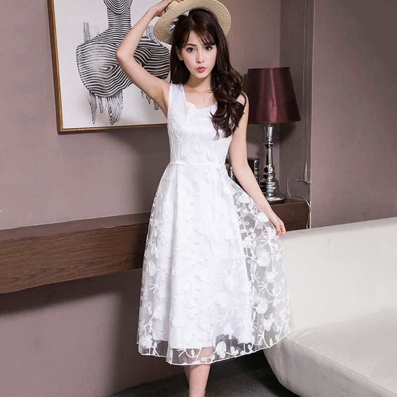 Для женщин белый круглый средства ухода за кожей шеи без рукавов кружево платье для сезон: весна-лето Свадебная вечеринка FS99