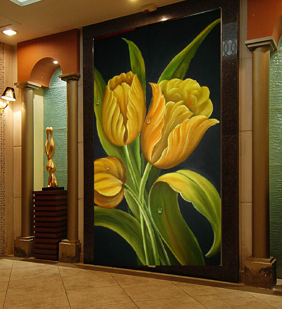 Custom photo wallpaper, European tulip flower painting for the living room bedroom TV background wall vinyl papel de parede vintage beautiful mahogany living room large mural wallpaper living room bedroom wallpaper painting tv background wall wallpaper