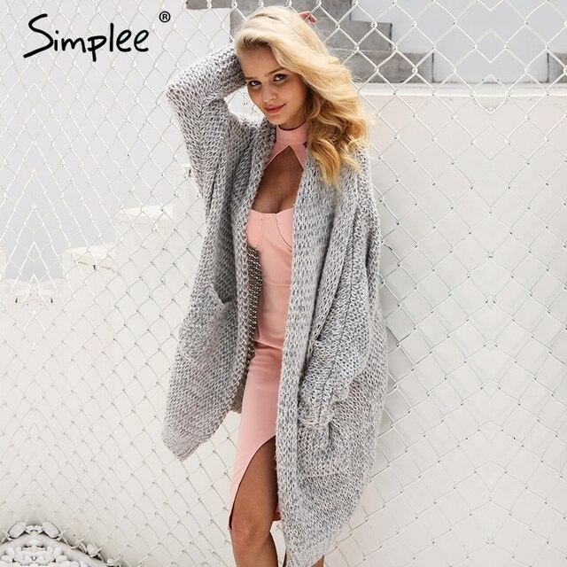 Simplee Кашемир Вязание длинный кардиган женский случайные свободные кимоно кардиган вязаный джемпер 2017 теплый зимний свитер женские