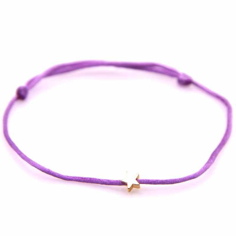 Bracelet porte-bonheur en argent doré étoile rouge pour femmes hommes enfants Bracelet tressé en corde réglable maman fille Couple homme