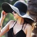 Diversión orange verano plegable grande ancho de ala de las mujeres playa del sombrero del sol paja Casquillo de la Playa Para Las Señoras Elegantes Sombreros Niñas Sombrero de Viaje de Vacaciones