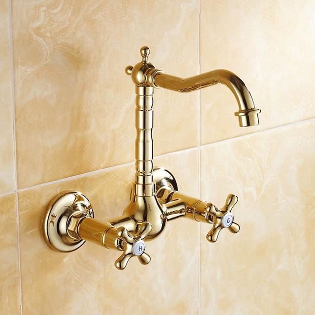 en gros au détail or couleur montage mural salle de bains robinet ... - Robinet Salle De Bain Mural