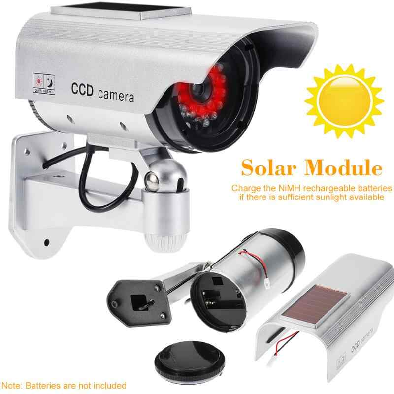 Solar Powered Fake Camera Dummy Camera Hoge Simulatie CCTV Camera Home Security Surveillance Camera Met Led Rood Licht Knipperen