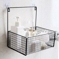 Nordic simple punch free bathroom shelf bathroom wrought iron wall hanging storage basket storage rack wx8151352