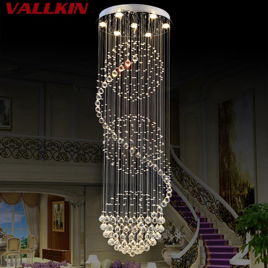 Modern LED Spiral Crystal Chandelier Lighting for Foyer Stair Staircase Bedroom Hotel HallCeiling Suspension Chandeliers Lamp цены
