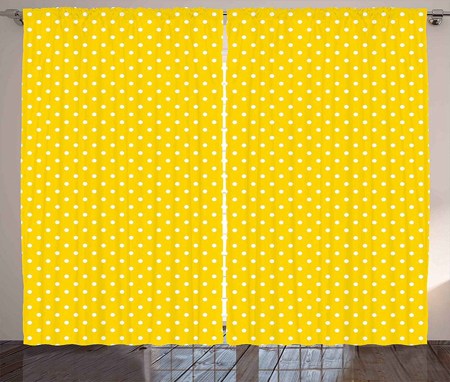 Vintage Yellow Curtains Traditional Polka Dot Pattern Traditional European Spotty Retro Design Living Room Bedroom Window Drapes