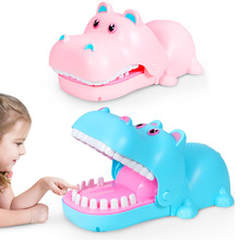 New Biting Funny Tricky Toy Hippo Bites Blue Pink Hippo Electric Lighting Sound Effect Children Educational Toys For Kids Gift