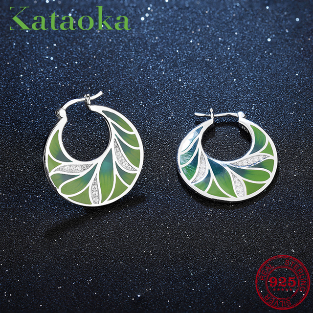 18f4f6c532e9 New Gorgeous 925 Sterling Silver Charming Crystal CZ Green Tree Leaves Drop  Earrings Luxury Party Jewelry