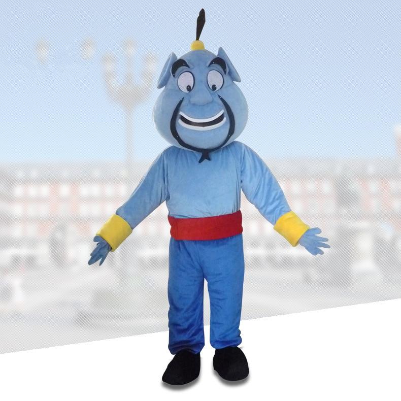 Joli bleu Aladdin génie mal Bogy esprit démon mascotte cosplay thème mascotte carnaval costume fantaisie fête robe