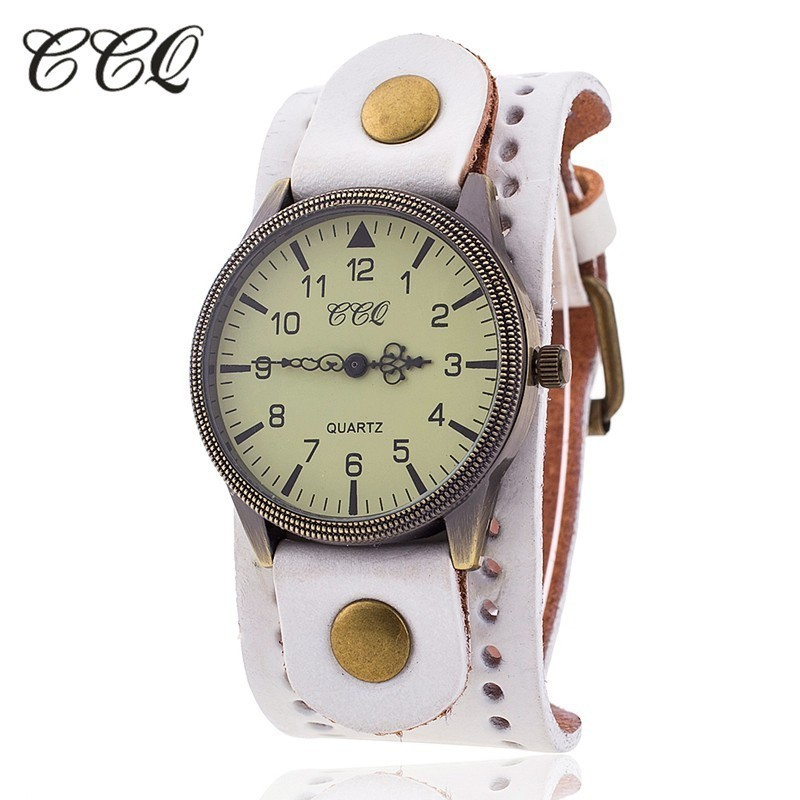 a085cfe3c28 CCQ Marca Vaca Do Vintage Pulseira De Couro Relógio Casual Mulheres Homens  Relógios de Pulso de Luxo Masculino Relógio de Quartzo Relogio masculino  Quente ...