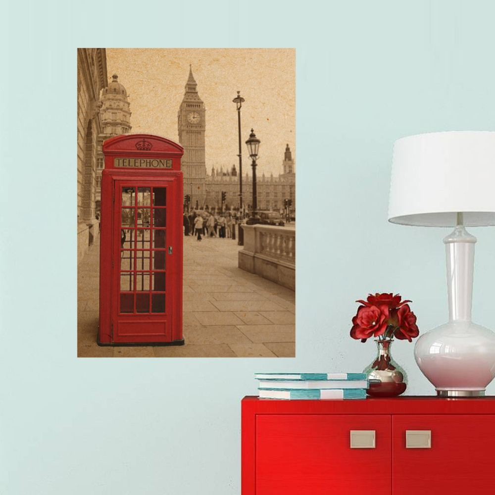 51x36cm London Red Telephone Booth Kraft Paper Poster Livingroom Bedroom Home Decor Retro Landscape