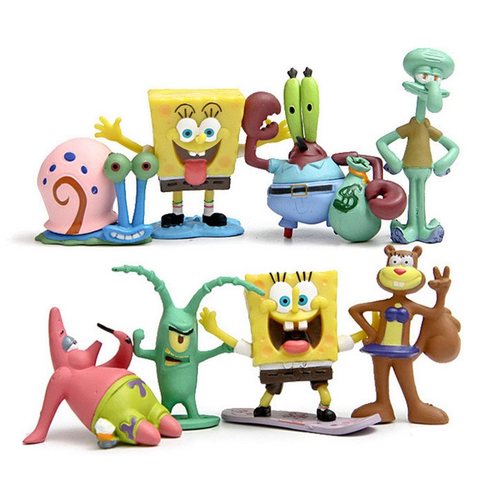 8pcs set anime spongebob figure toys doll baby kids cartoon movie