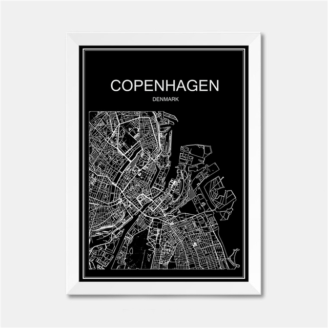 Copenhagen denmark city world map poster abstract vintage paper print picture bar cafe pub living room