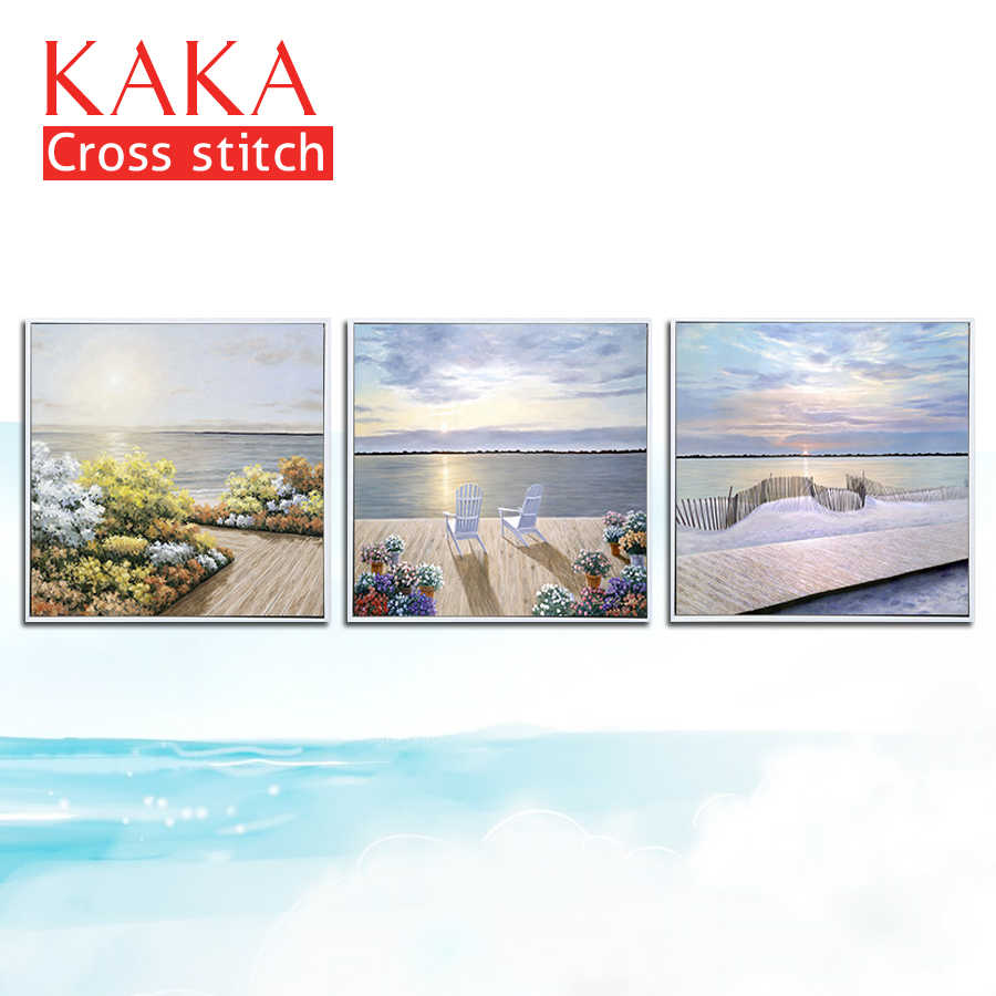 KAKA Cross stitch kits,Embroidery needlework sets with printed pattern,11CT-5D canvas for Home Decor Painting,landscape CKS0023