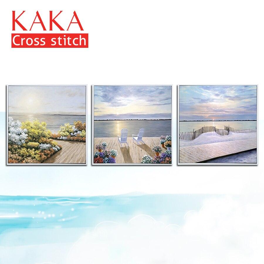 KAKA kruissteek kits, Borduren handwerken sets met gedrukte patroon, 11CT 5D canvas voor Home Decor Schilderen, landschap CKS0023-in Pakket van Huis & Tuin op  Groep 1