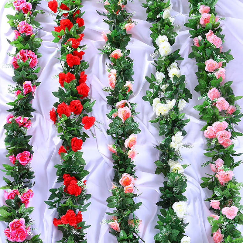 Artificial vine fake Flowers ivy Roses cherry Silk Flowers Garland DIY Flowers for Wedding Garden Home Decor fake Flower vine in Artificial Dried Flowers from Home Garden