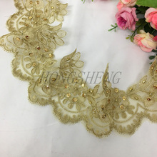 180cm Golden Lace Trim Sequins Trimming For Wedding Dress Applique Gold Thread Sewing Accessories