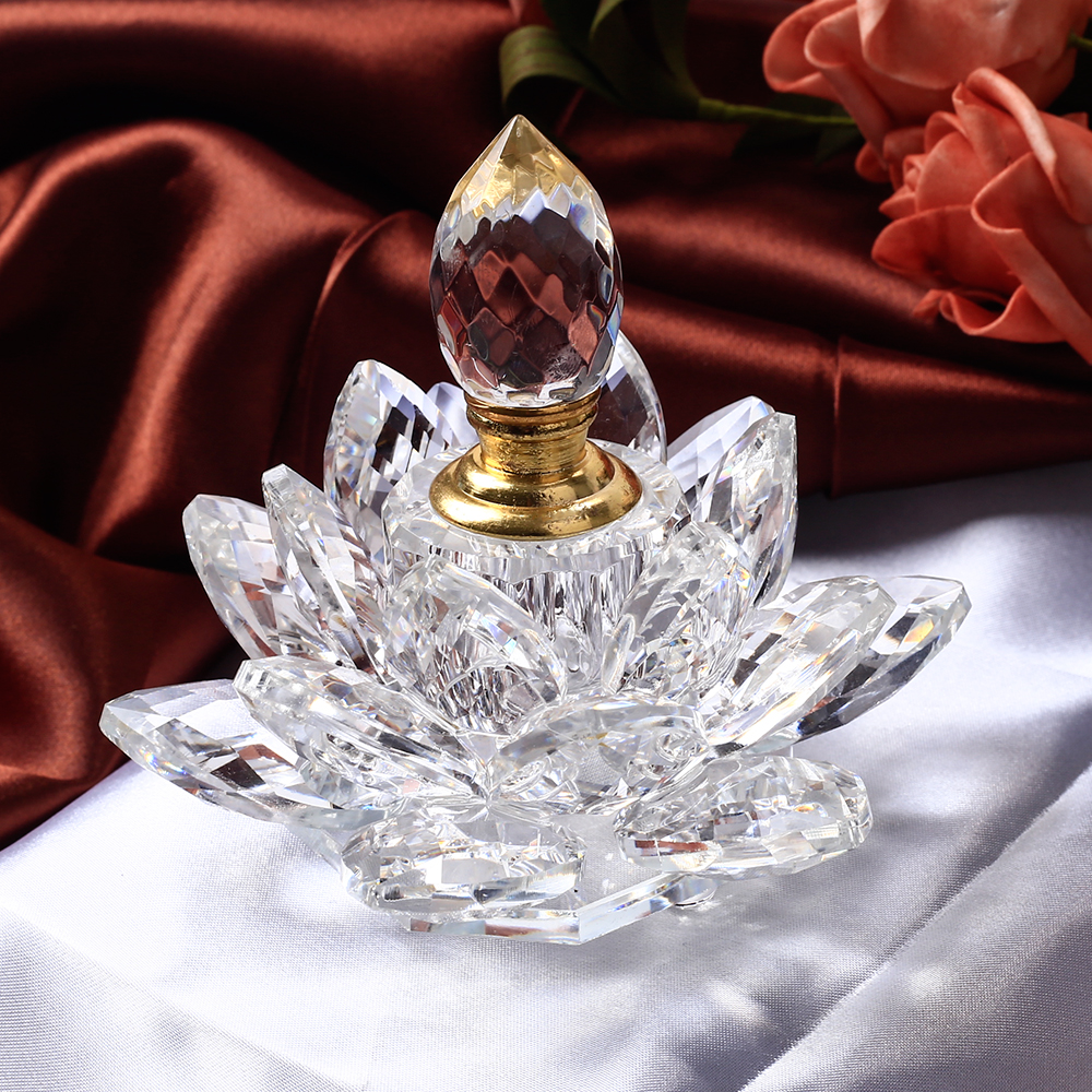 1 Pcs Crystal Lotus Flower Figurines Perfume Bottle Miniatures Glass