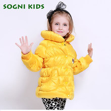 SOGNI KIDS Girls Winter Coat New Brand Fashion Turtleneck Jacket For Girls Cute Cartoon Single-breasted Girls Winter Outerwear