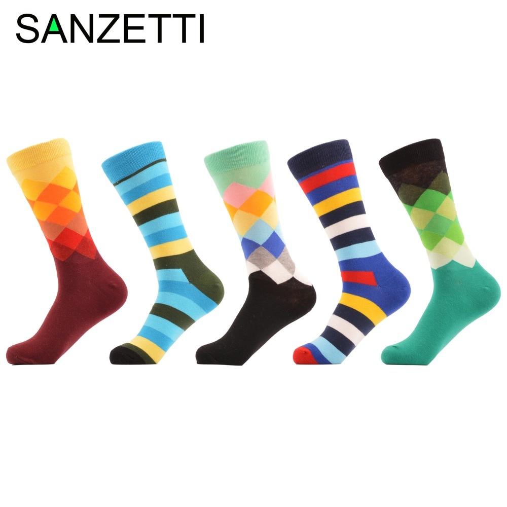 SANZETTI 5 pairs/lot Classic Mens Combed Cotton Novelty Dress Socks Funny Stripe Beard Dots Pattern Casual Crew Wedding Socks