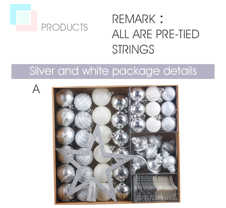 03 inhoo 80pcsset Christmas Tree Ball Ornaments Gift Polystyrene Balls Xmas Party Hanging Ball Merry Christmas Decor for Home 2019