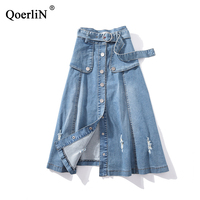 QoerliN XL 5XL Large Size Belt High Waist Skirts Vintage Ripped Holes Sexy Ripped Retro Denim Skirts Women Jeans Skirt Plus Size
