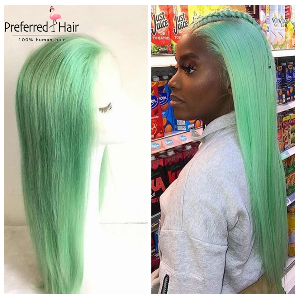 Preferred Mint Green Brazilian Transparent Lace Wig Remy Hair Pre Plucked Straight Human Hair Wigs For Black Women