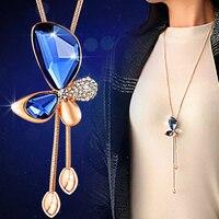 שרשרת תליון קריסטל פרפר נשים bijoux שרשרת סוודר שרשראות הצהרה אלגנטיות קניות באינטרנט הודו קולייר femme