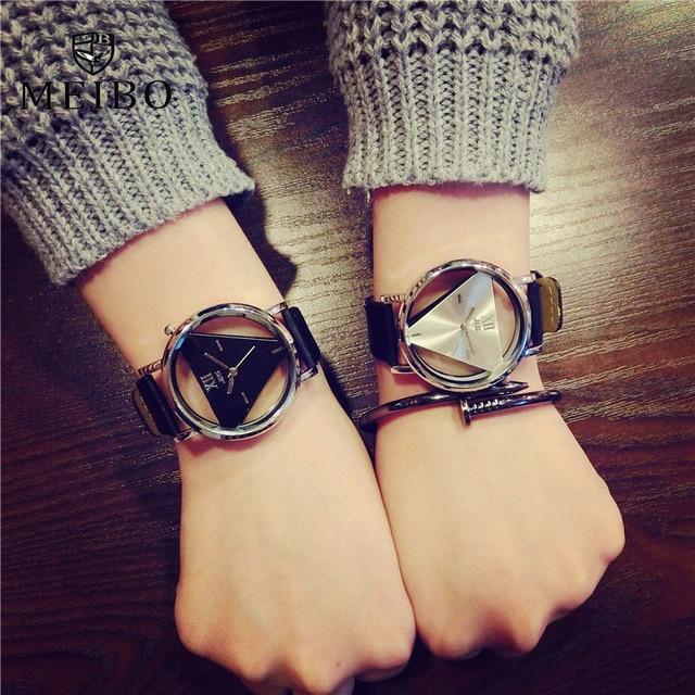 cb40b186816 MEIBO Triângulo relógios das mulheres transparente Delicado oco pulseira de  couro relógio de pulso de quartzo