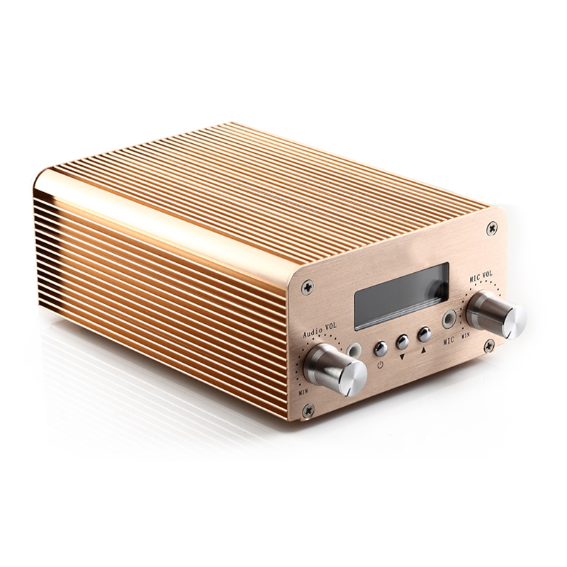 Free Shipping NIO-T6B Gold Color 1W/6W Output Power Wireless FM Audio Equipment Adjustable with Bluetooth 2017 new technology free shipping 1w 6w wireless mini power radio broadcast nio t6b pll fm transmitter with pc control