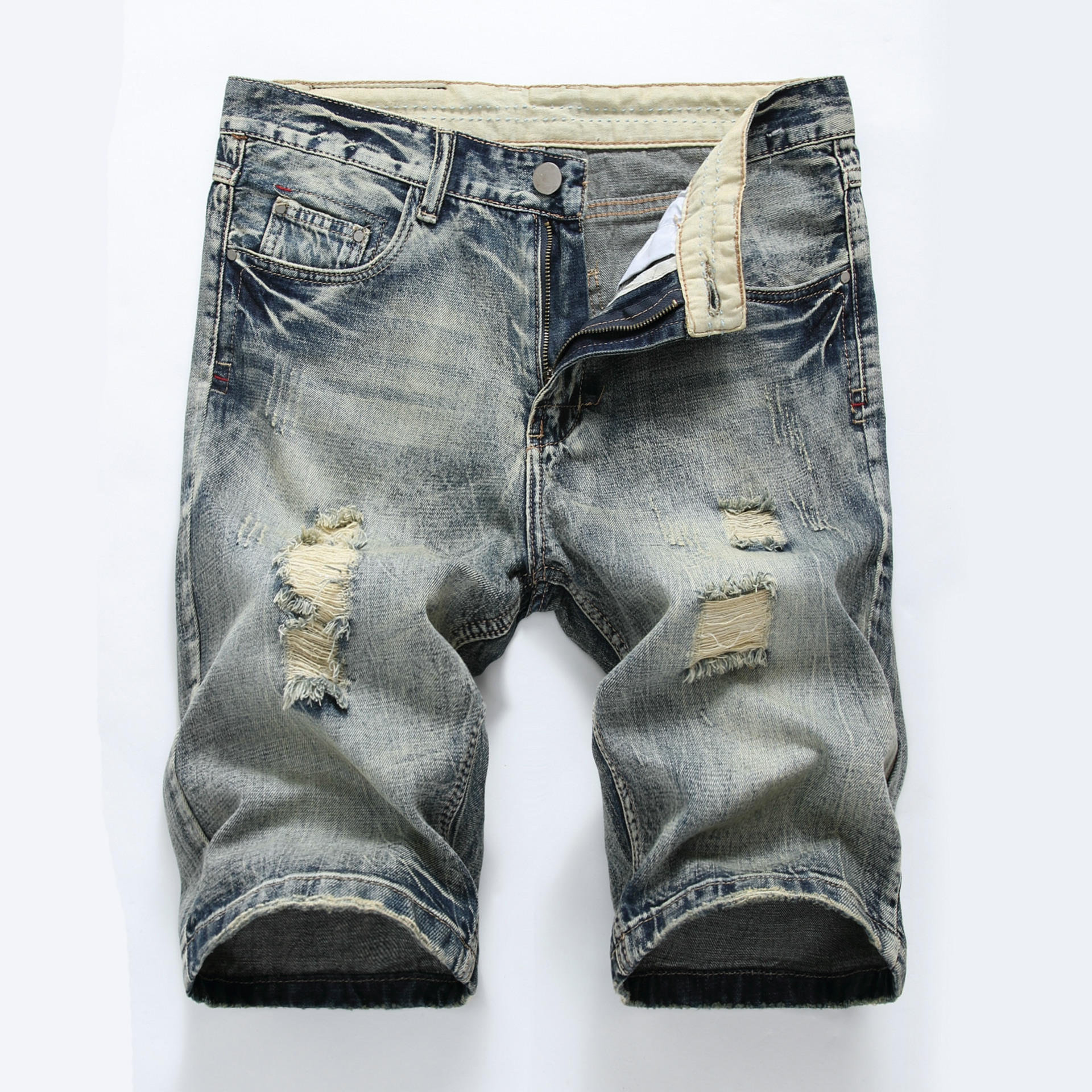 Hot Summer Casual Ripped Shorts Jeans Men Brand Wash Cotton Distressed Straight Mens Denim Shorts Bermuda Jeans Shorts Hommes