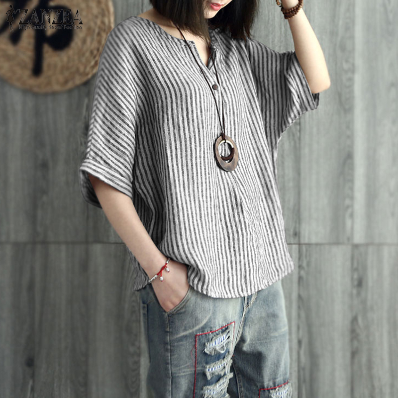S-5XL ZANZEA 2019 Women Summer Striped Blouse Casual V Neck  Sleeve Shirt Loose Cotton Linen Work OLTop Blusas Plus Size