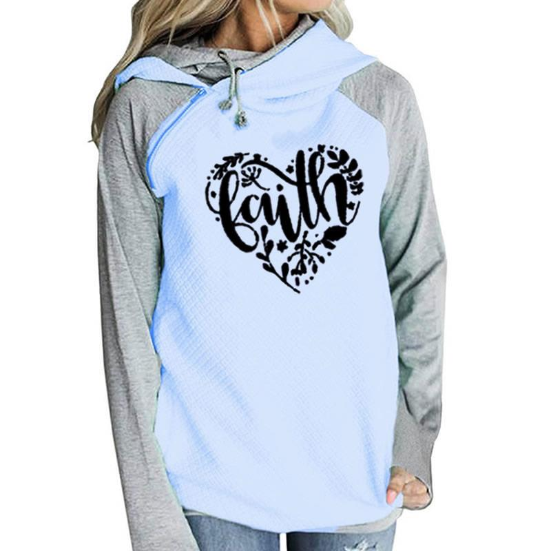 2018 Nouvelle Mode Foi Impression Kawaii Hoodies Femmes Shirts Tops Harajuku Frauen Poches Automne Boucle