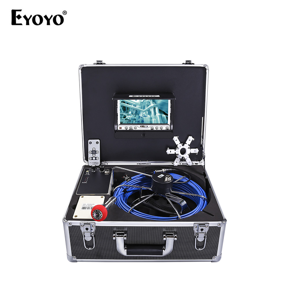 Eyoyo EP7D1 23mm 35M 7 Color TFT LCD Sewer Waterproof Camera With Meter Counter Drain Pipe Inspection 12pcs Led 1000TV waterproof camera head 23mm pipe inspection cameras for sewer drain check with keyboard 710dk