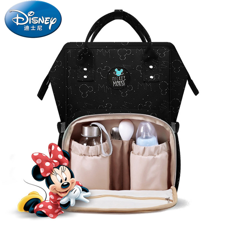 Disney Cartoon Mickey Mouse Minnie USB Heating Waterproof Diaper Bag Child Mummy Backpack Baby Mother Travel Bag Large Capacity
