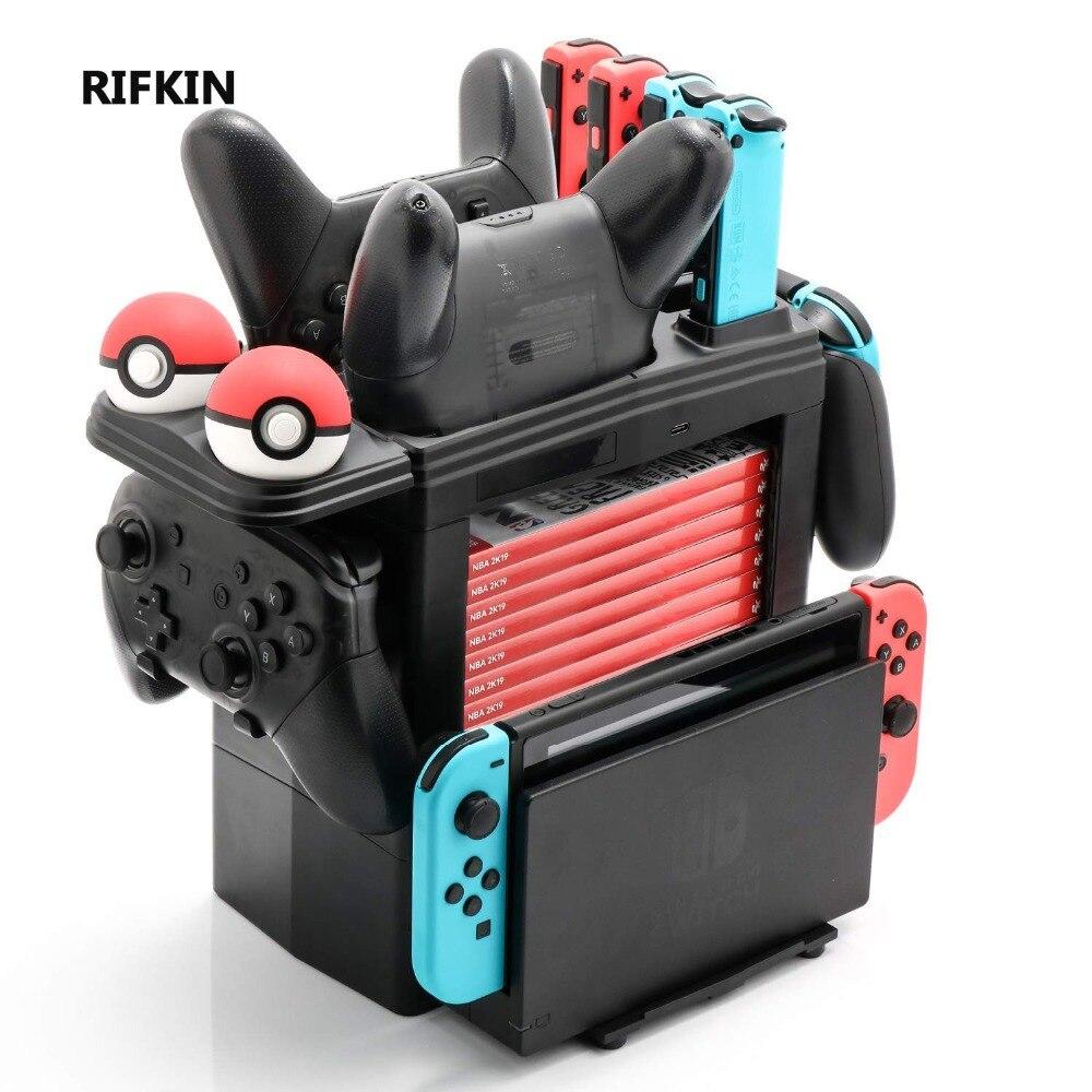 RIFKIN 8 en 1 gamepad Dock de chargement pour nessa Switch chargeur de balle support de tour de stockage pour carte de jeu