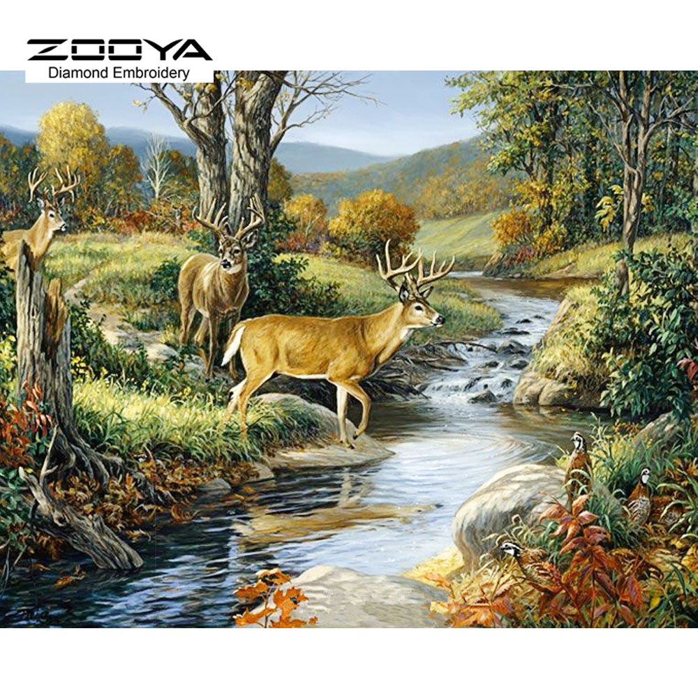NEW 3D DIY Diamond Painting Cross Stitch Deer River Scenic Crystal Needlework Diamond Embroidery Full Diamond Decorative BJ492