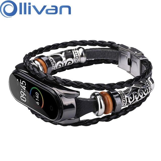 OLLIVAN pulsera de piel auténtica para Xiaomi Mi Band 4, 3 capas, negra, plateada, estilo Punk, correa de acero, cierre de joyería de nailon para hombre
