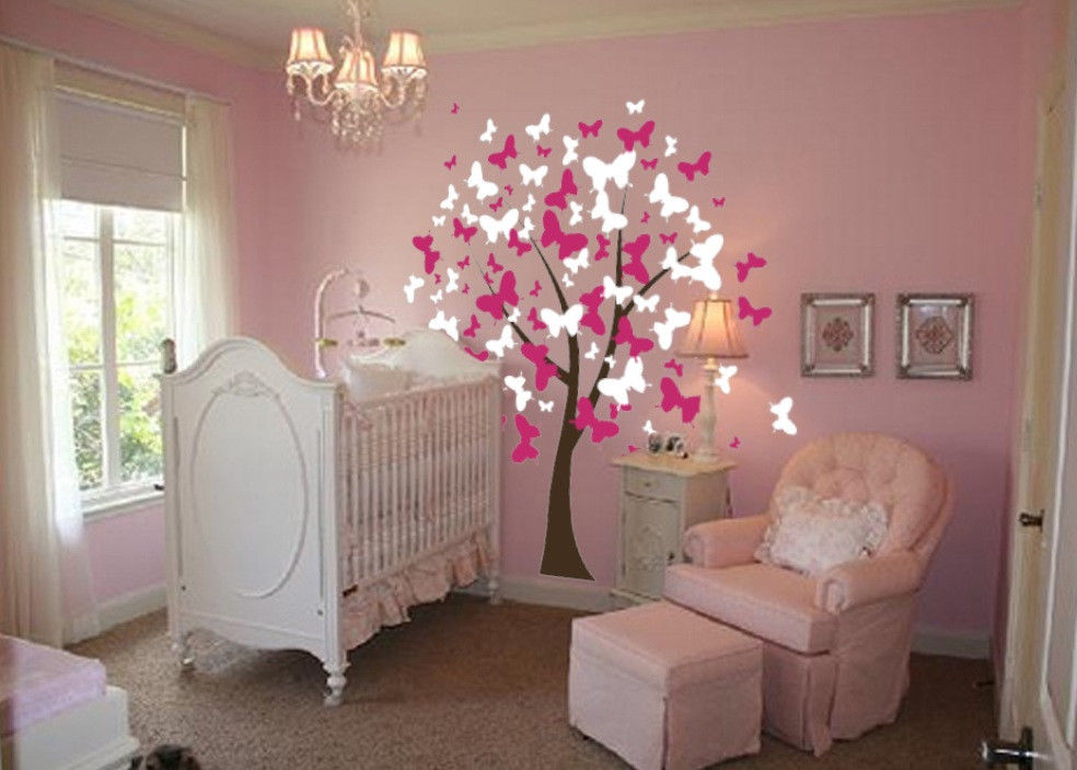Large Wall Tree Baby Nursery Decal Butterfly Cherry ... on Room Decor Stickers id=48237