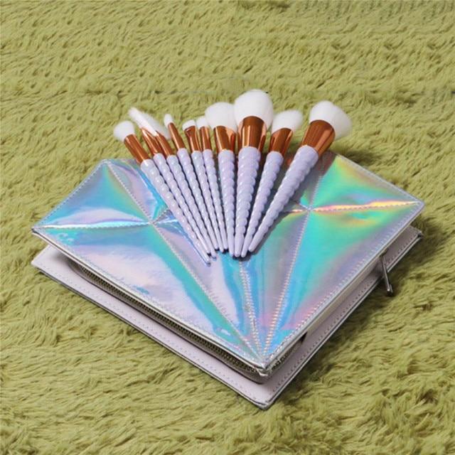 10pcs Thread Rainbow Handle Makeup Brush Diamond Bag Face Eyeshadow Powder Foundation Eyebrow Make Up Brush Kit Tools 4