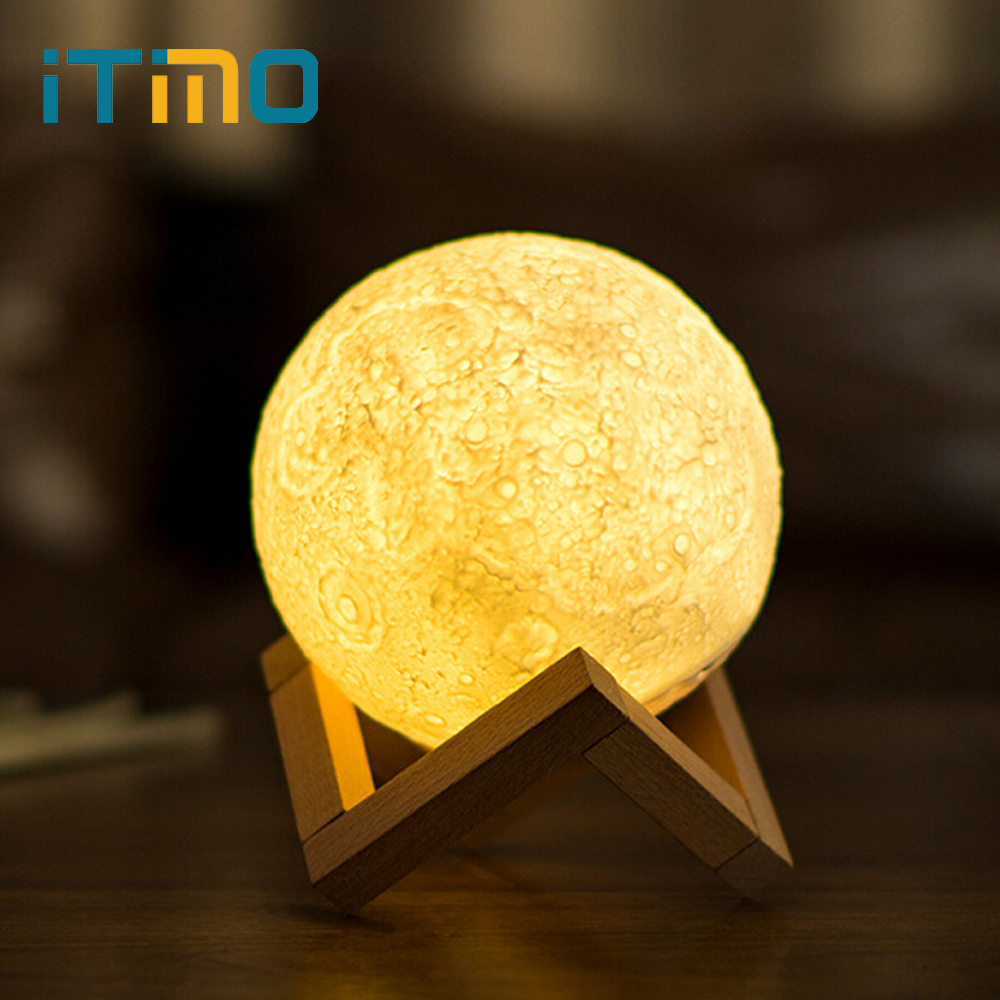iTimo 12CM 15CM Rechargeable Moon Light Lamp 2 Color Change Touch Switch Bedroom Bookcase Night Light Home Decor Creative Gift rechargeable night light 3d print moon lamp 9 color change touch switch bedroom bookcase nightlight home decor creative gift