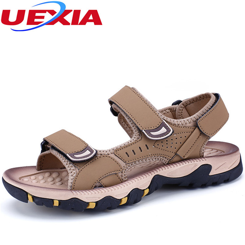 2017 Mens Leather Outdoor Sandals Summer Men Shoes Sport Sandals Breathable Casual Beach Slippers Non slip