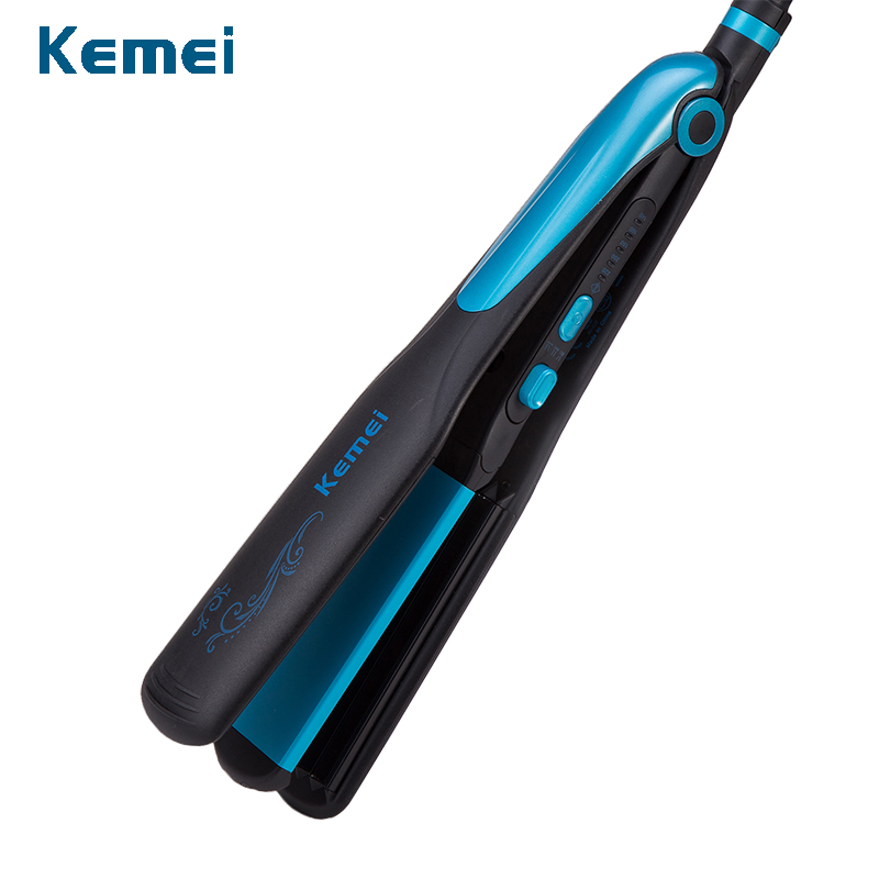 kemei hair straightener professional 2 in 1 ionic straightening iron & curler styling tool waves curling irons curler women kemei hair straightener styling tools straightening irons women curling irons curler professional ionic flat irons