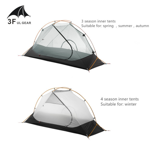 3F UL GEAR Outdoor Ultralight Camping Tent 3/4 Season 1 Single Person Professional 15D Nylon Silicon Tent Barracas Para Camping 4