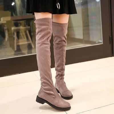 Dij Hoge Platte Laarzen Vrouwen Over de Knie Laarzen Comfort Fall Winter Faux Suede Laarzen Mode Schoenen Vrouw Zwart Donker grijs Wijn