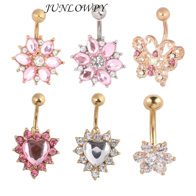 Us 23 7 Junlowpy Fancy Navel Piercing Jewelry 6 Style 30pcs Top Belly Rings Summer Woman Beach Jewelry Belly Button Rings Body Piercing On