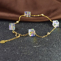 Real 18K Yellow Gold Bracelet For Women Girl Full Star Square Crystal Smooth Beads Chain 16 20cmL