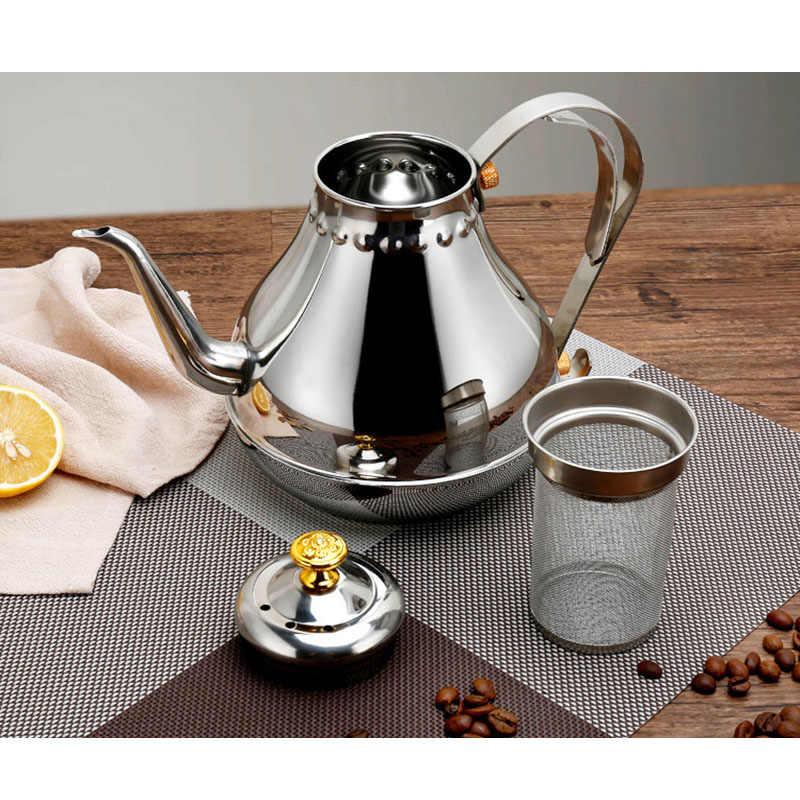 Gooseneck Кофе чайник с фильтром, нержавеющая сталь профессиональный чайник/Moka Cafetera кувшин, 1.2L и 1.8L