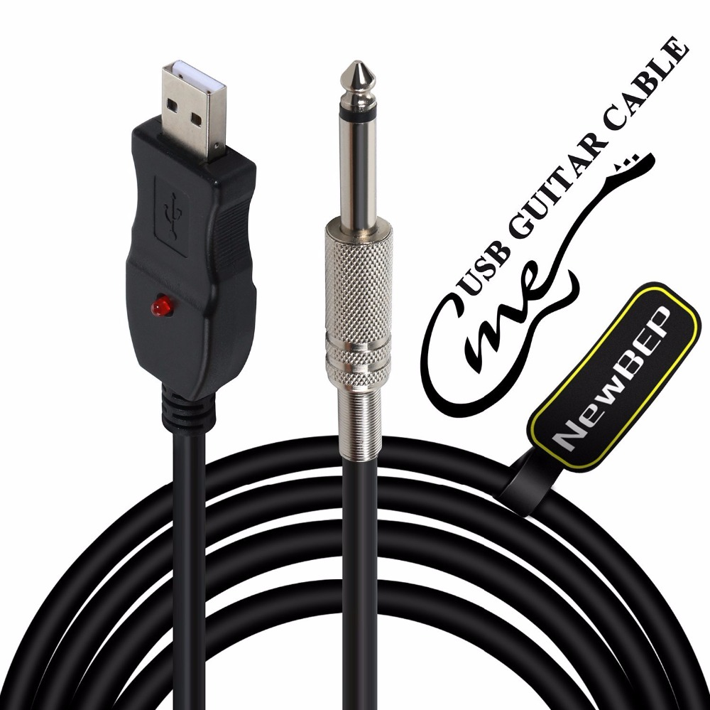 newbep 3m guitar audio cable usb to jack computer recording cable guitar bass to pc usb. Black Bedroom Furniture Sets. Home Design Ideas